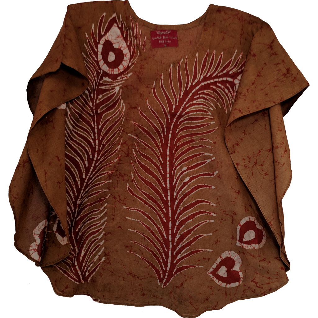 Peacock Feather Brown Women Batik Top - ceylond