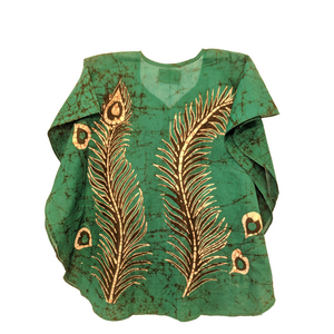 Peacock Feather Green Women Batik Top - ceylond