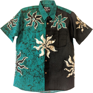 SunRay Green Men Batik Shirt - ceylond