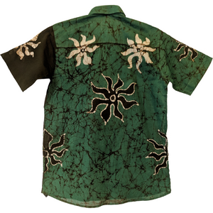 SunRay Olive Green Men Batik Shirt - ceylond