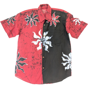 SunRay Red Men Batik Shirt - ceylond