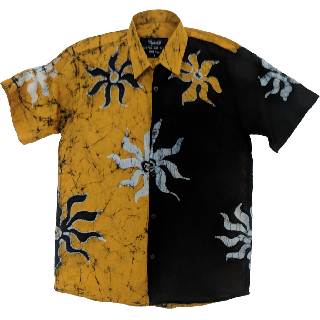 SunRay Yellow Men Batik Shirt - ceylond