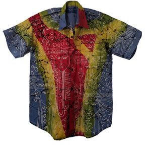 Kolam Mask Men Batik Shirt - ceylond