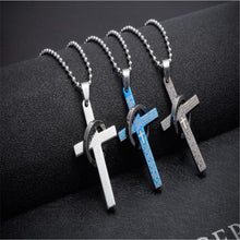 Stainless Steel/Titanium Cross Amulet for Men-Christian
