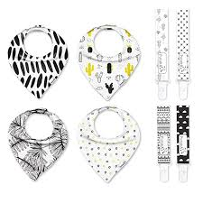 Pack of pacifier clips and bandana bibs