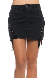 Sophia Denim Black Skirt