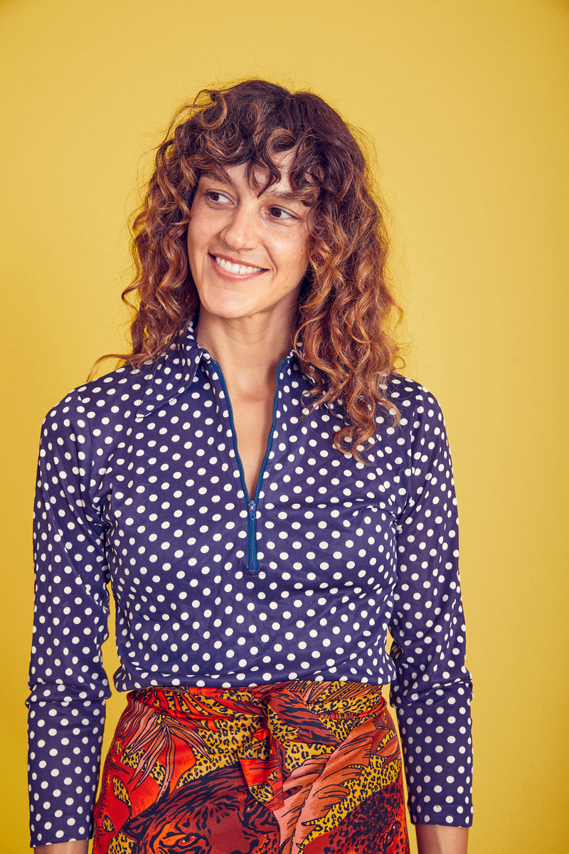 Polka dot zip front shirt