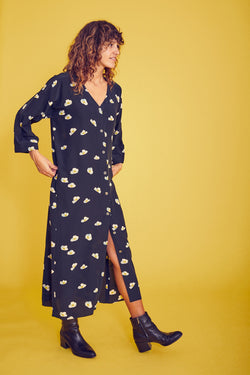 Everyday Maxi Dress in Navy with floral print