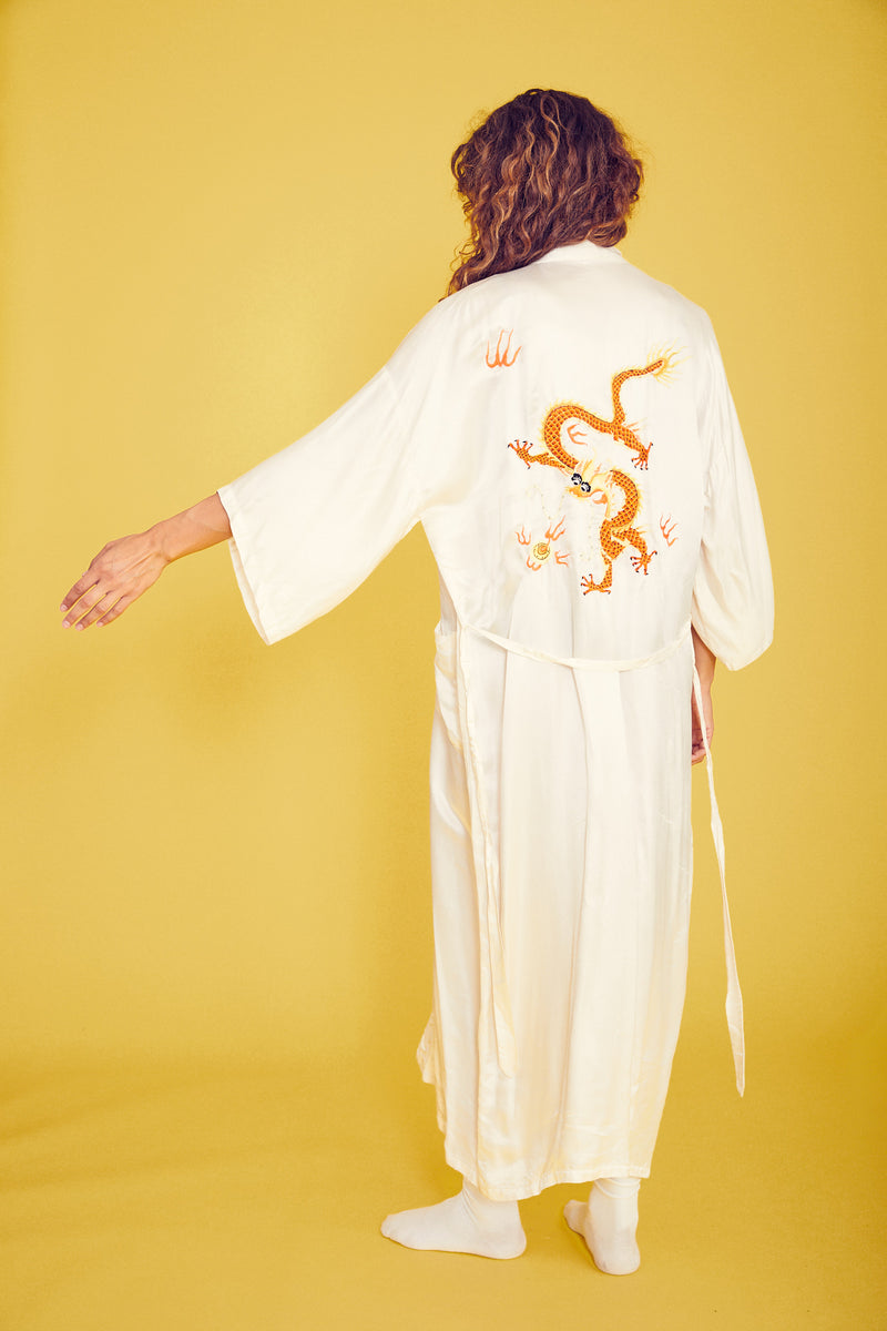 Exquisite Embroidered Dragon Robe in bright white