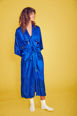 Vibrant Blue Embroidered Silk Robe