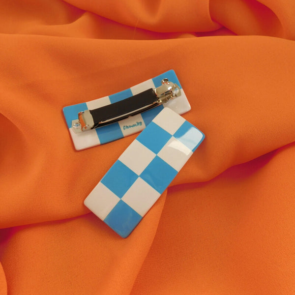 Checker Barrette - Blue/White