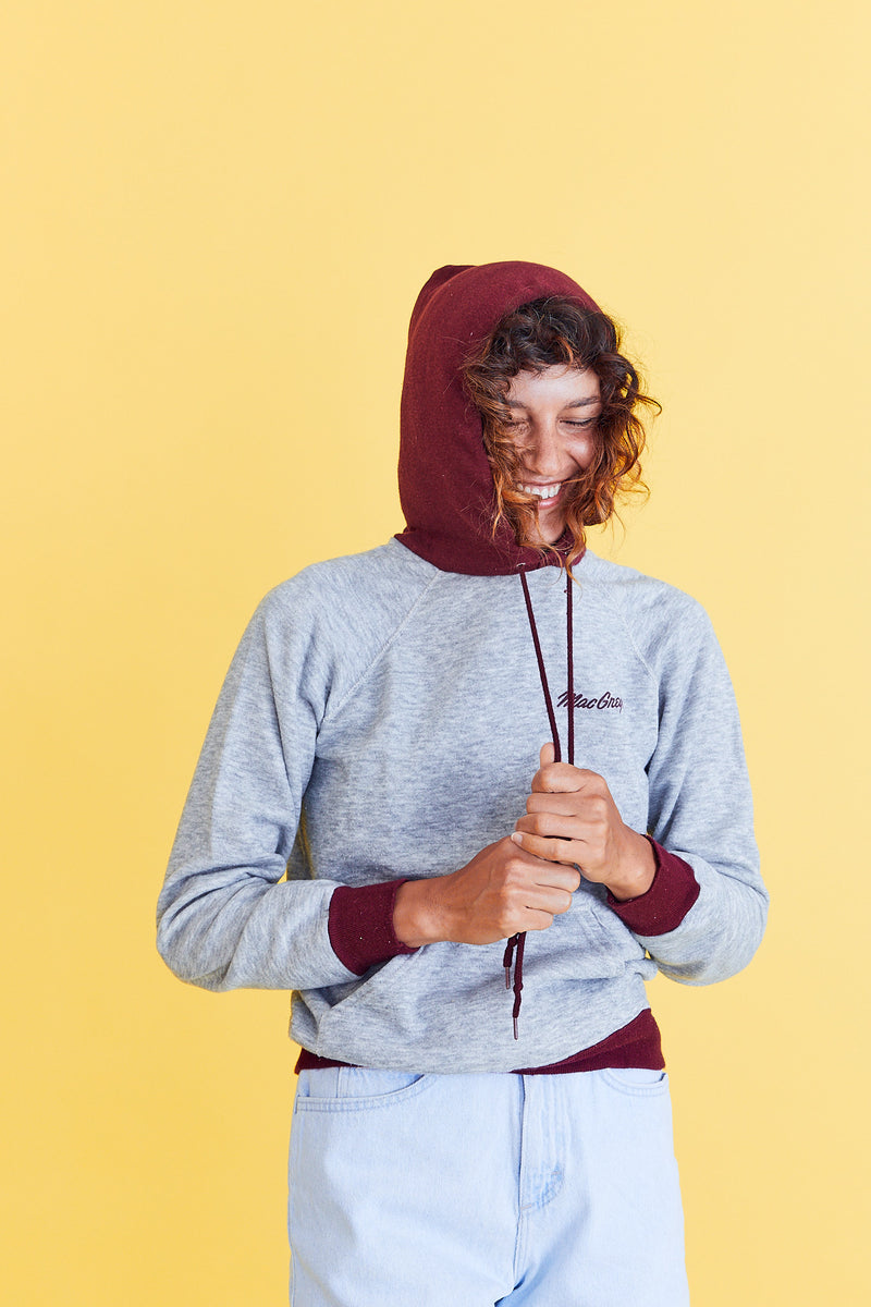 Super Soft Burgundy & Grey Hoodie