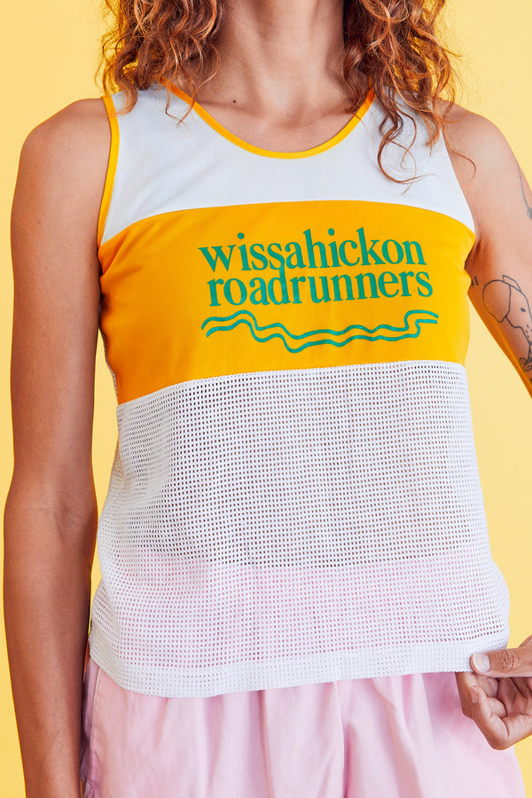Yellow & White Wissahickon Roadrunner Tank