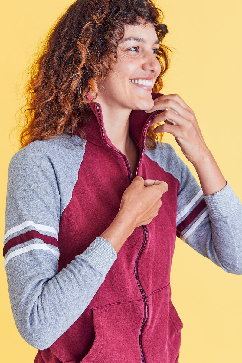 Super Soft Burgundy & Grey Zip Up