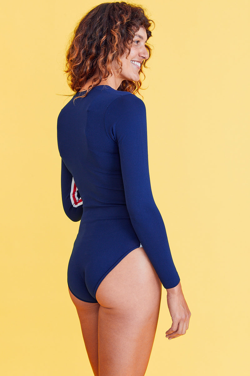 Blue Nylon Leotard with Racing Stripes
