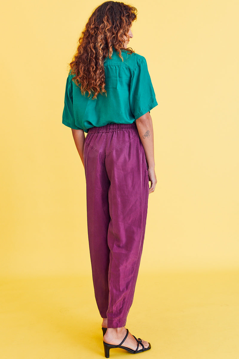 Burgundy Silk Pants by the Limited