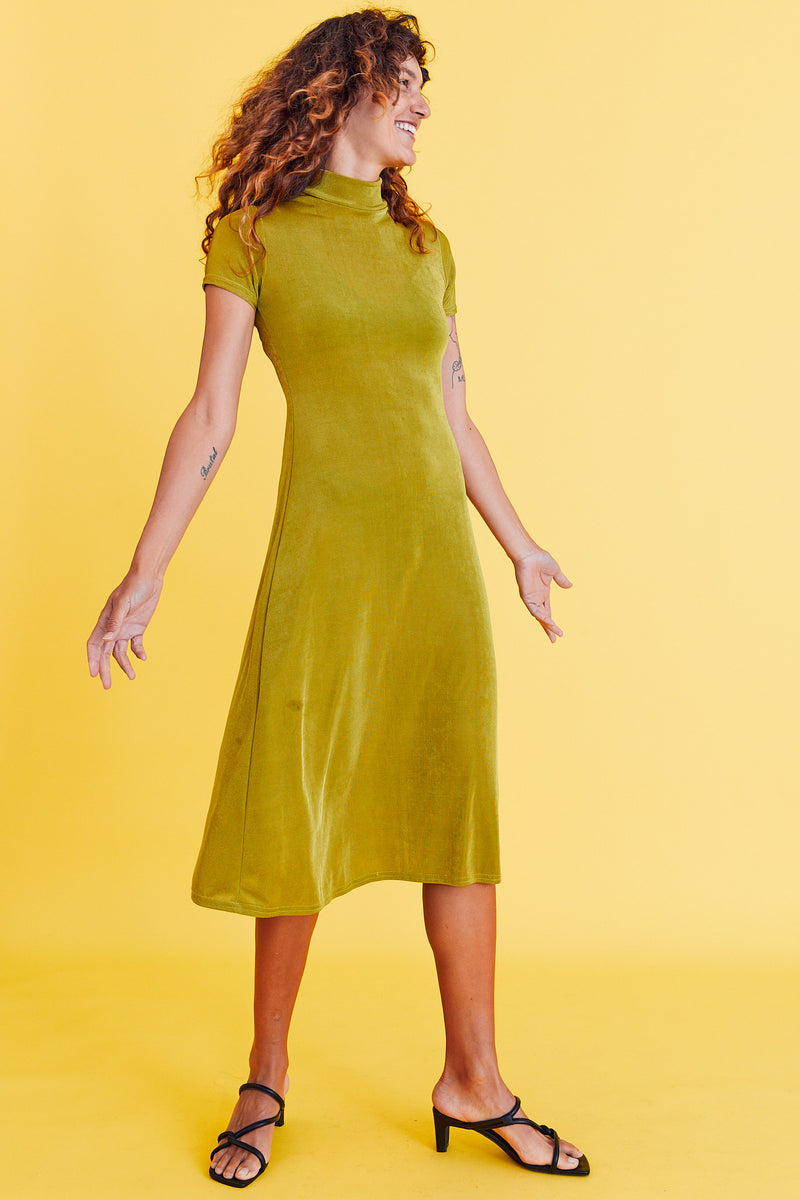 So 90s Green Slinky Stretch Dress