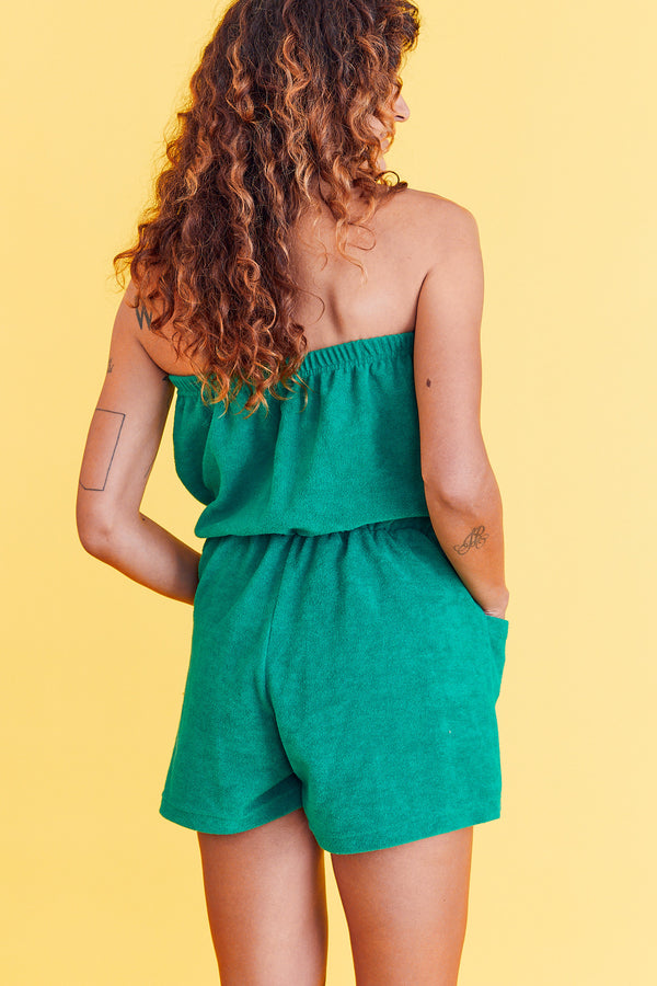 Chive Green Terry Cloth Romper