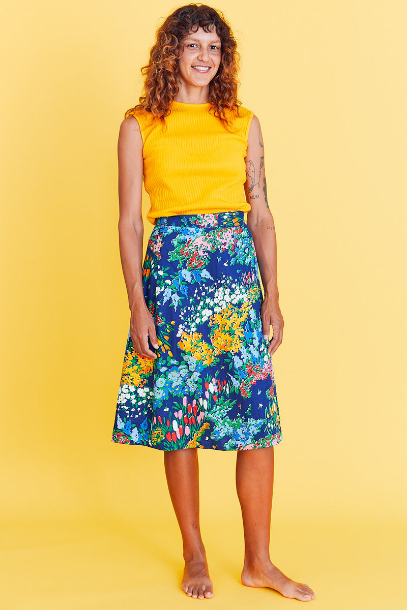 70s Floral Wrap Skirt