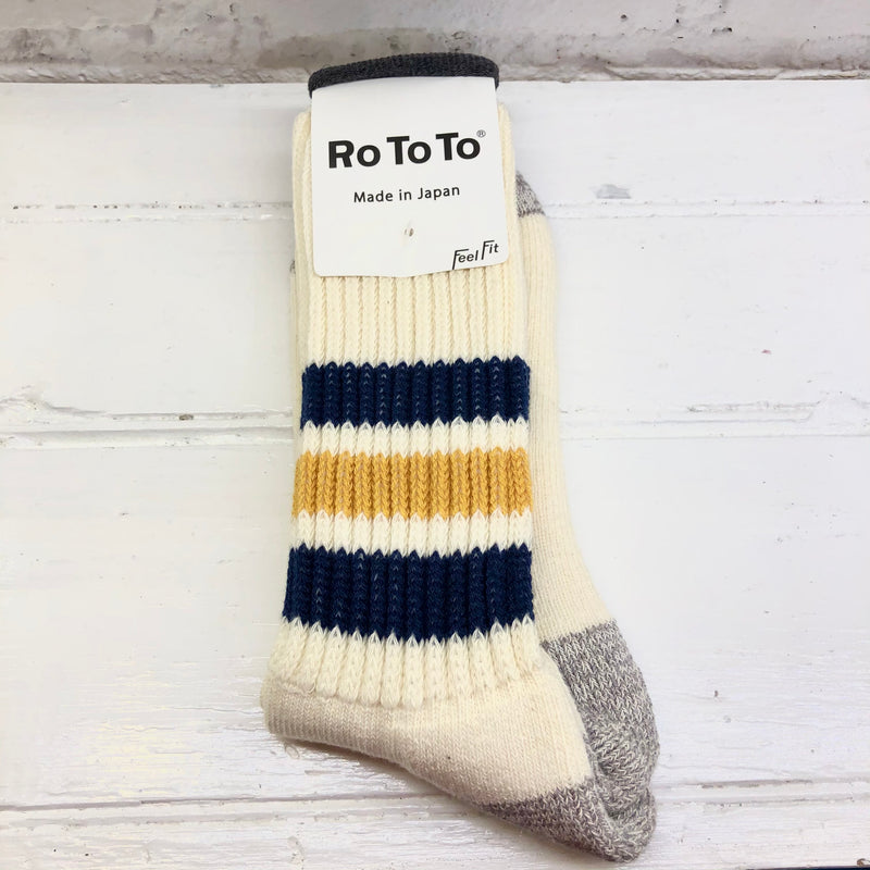 RoToTo: Coarse Ribbed Old School Socks (Navy/Yellow)
