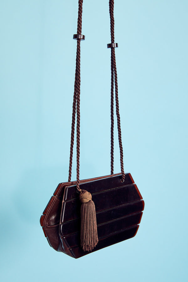 Barbara Bolan Lucite Tassle Bag With Leather Trim