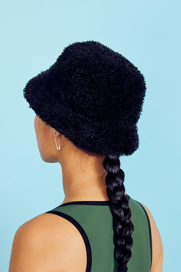 Black Fuzzy Bucket Hat