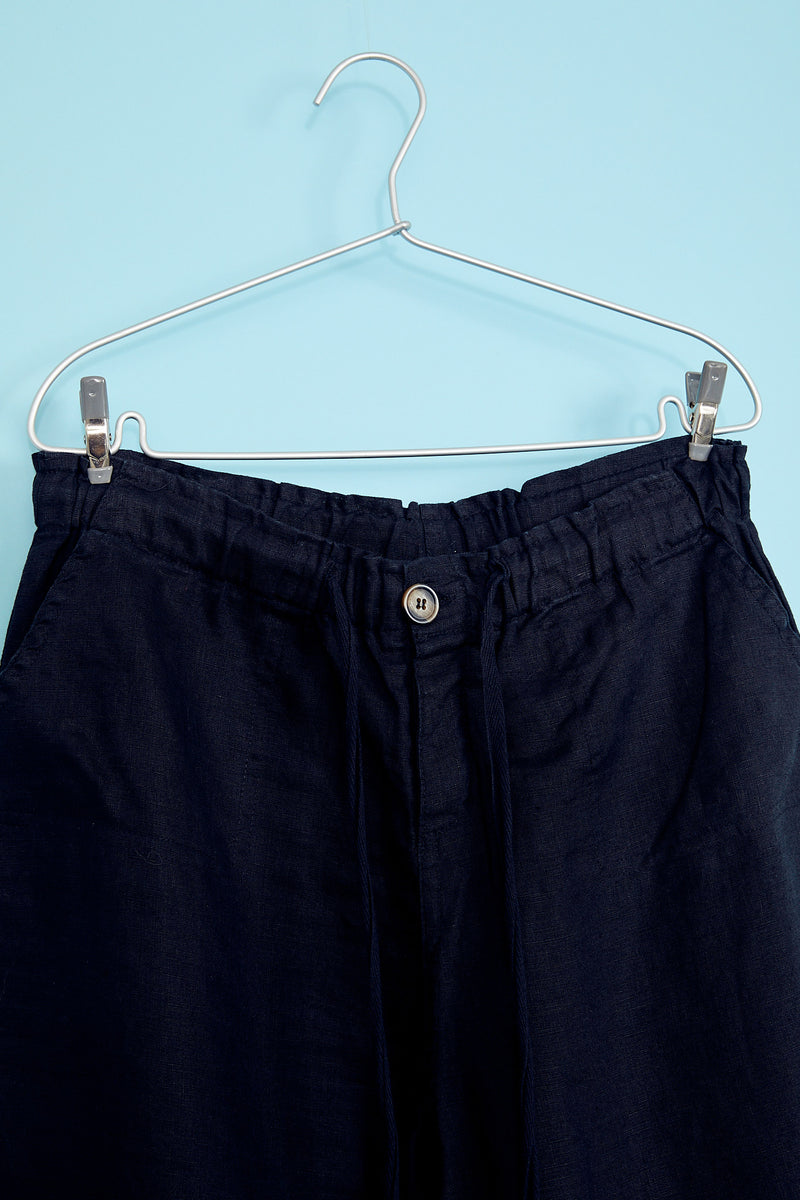 Drawstring Black Linen Pants