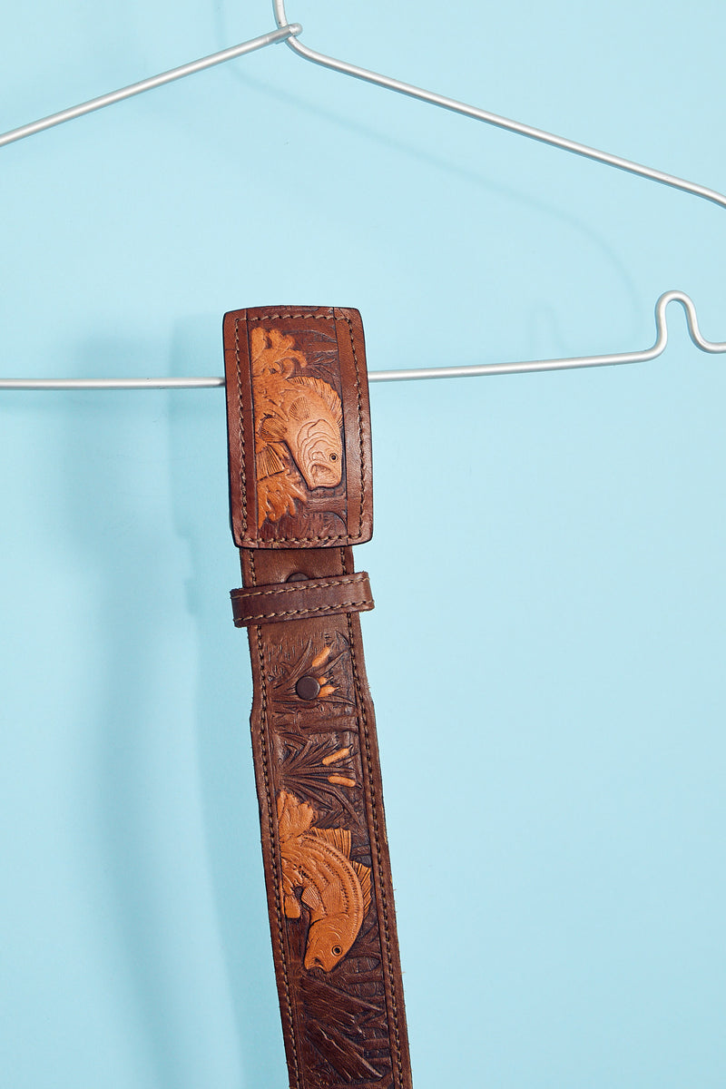 Hand-Painted Leather Fish Belt