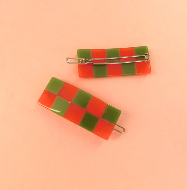 Checker Barrette - Orange/Green