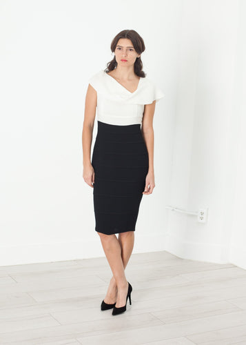 Copy of Asymmetric Dress in Cream/Black