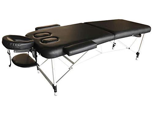 """Comfort Plus"" Lightweight Portable Massage Table W/Breast Recess Cutouts (Black)"