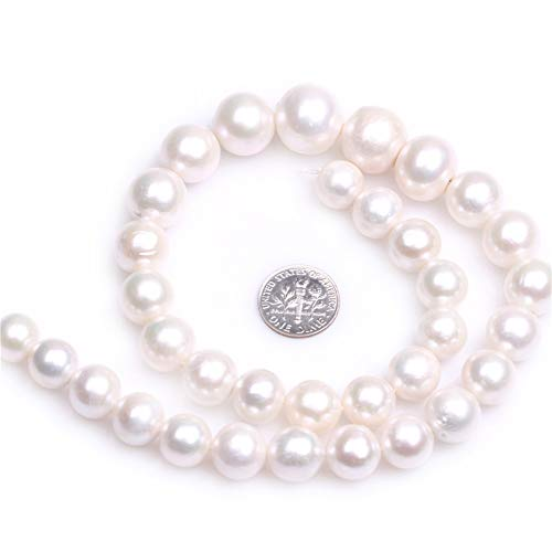 JOE FOREMAN Freshwater Cultured Pearl Beads for Jewelry Making Natural Semi Precious Gemstone 12-14mm Round White Strand 15""
