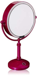 "Modern Mirror LED Lighted 7.5"" Makeup Mirror With 10X Magnification, Built in Rechargeable Battery & AC Adapter, Purple"