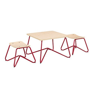 Ace Casual Kids Kellan Mixed Material Table & Stool Set, Red, One Size