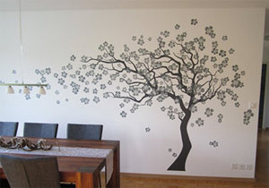 "Pop Decors""Grey Go Left Cherry Blossom Tree Flowers"" Beautiful Wall Stickers for Kids Rooms"