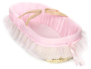 Baby Doll Bedding Fluffy Moses Basket, Pink