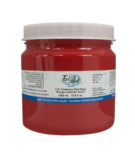 Tri-Art High Viscosity Paint, 1000ml, Deep C.P. Cadmium Red