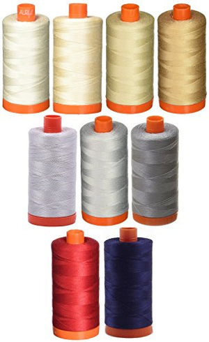 9-PACK - Aurifil 50WT Bundle - Muslin + Light Sand + Light Beige + Beige + Red + Aluminium + Dove + Grey + Dark Navy, - Mako Cotton Thread - 1422Yds EACH