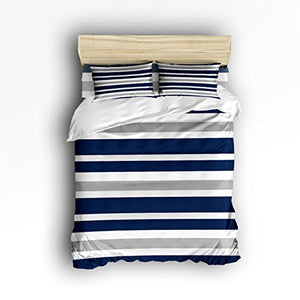 Vandarllin Navy Blue, Gray and White Stripe 4 Piece Bedding Set- Collection Queen Size Duvet Cover Set Bedspread for Childrens/Kids/Teens/Adults, 4 Piece 100% Cotton