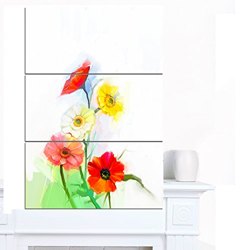 Designart PT15023-3PV Still Life Colored Gerbera Flowers Modern Floral Wall Art Canvas,,28x36