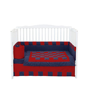 Baby Doll Bedding 4 Piece Patchwork Perfection Crib Bedding Set, Navy/Red