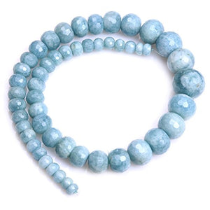 "Aquamarine Beads for Jewelry Making Natural Semi Precious Gemstone 8-20mm Rondelle Faceted Graduated Strand 15"" JOE FOREMAN"