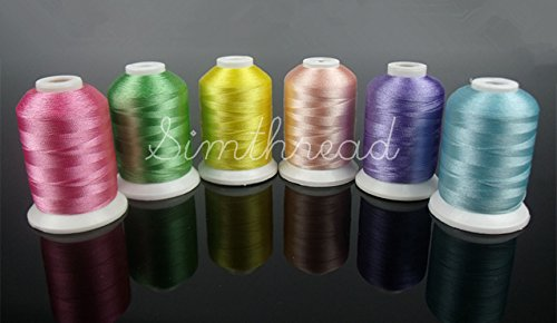 Simthread 63 Brother Colors 1000M(1100Y) Polyester Embroidery Machine Thread for Brother Babylock Janome Singer Pfaff Husqvarna Bernina Serger Embroidery and Sewing Machines