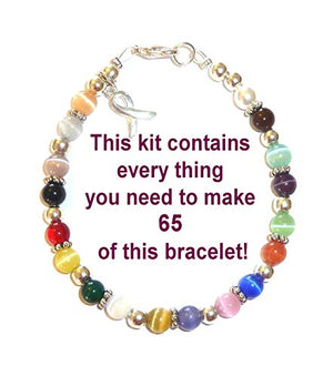 Hidden Hollow Beads Cancer Awareness Bracelet Kit, Makes 65, 6mm With Wire and Clasps, Best Value For Fundraisers, Relay For Life, Pink Out Day