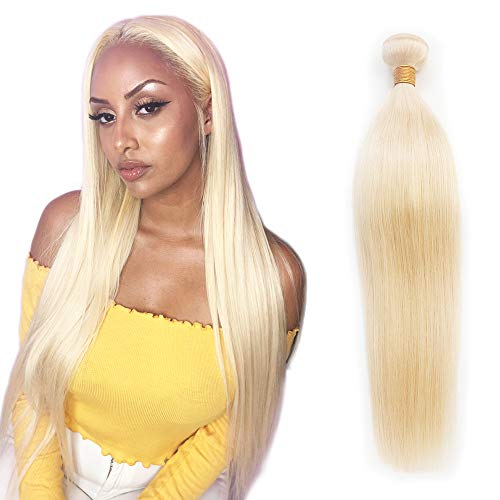 #613 Blonde Human Hair Bundles Unprocessed Brazilian Straight Hair Weave 100% Virgin Remy Hair Extensions Platinum Hair Weft 100grams (28inch #613)
