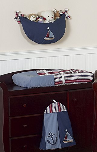 Sweet Jojo Designs 11-Piece Nautical Nights Blue and White Sailboat Baby Boy Bedding Crib Set Without Bumper