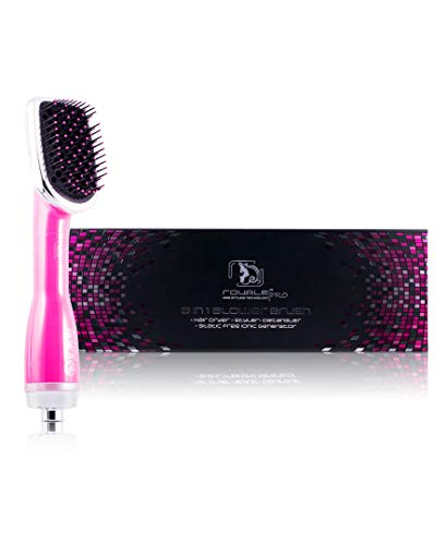 Professional Hairstyling Royale 3 in one Blower Brush 2000 Set - Interchangeable Attachments - Volumizes, Straightens and Curls - Tourmaline Technology - Pink