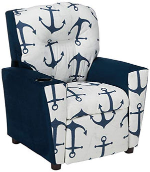 Kidz World Anchors Navy Kid's Recliner with Cup Holder, Navy Suede