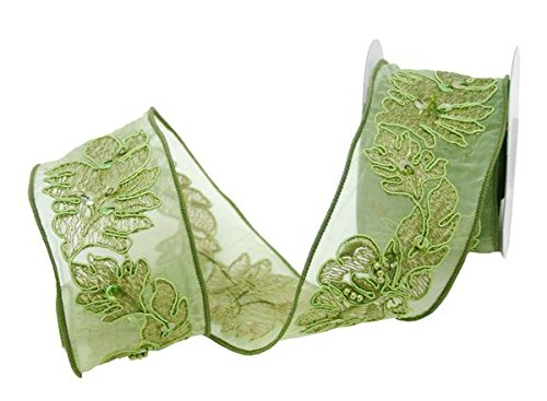 "Renaissance 2000 2.5"" x 10yd Basil Sheer with Embroidery Ribbon"