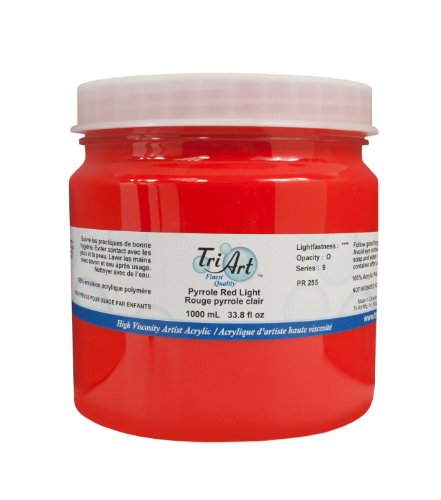 Tri-Art High Viscosity Paint, 1000ml, Light Pyrrole Red